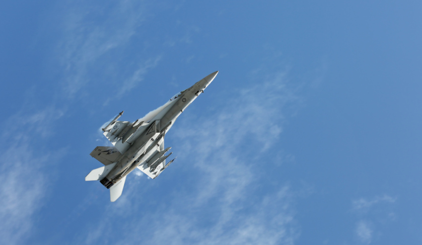 A F/A-18F Super Hornet from No 1 Squadron