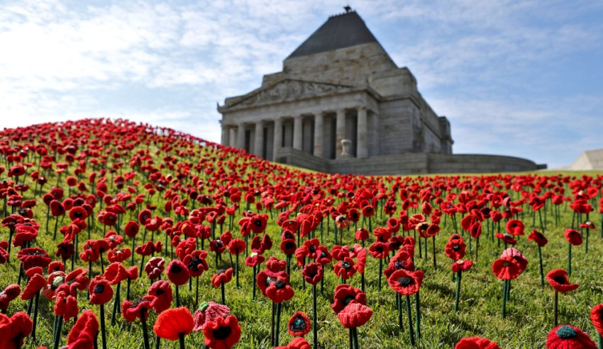 remembrance day service held at the shrine of remembrance melbourne victoria